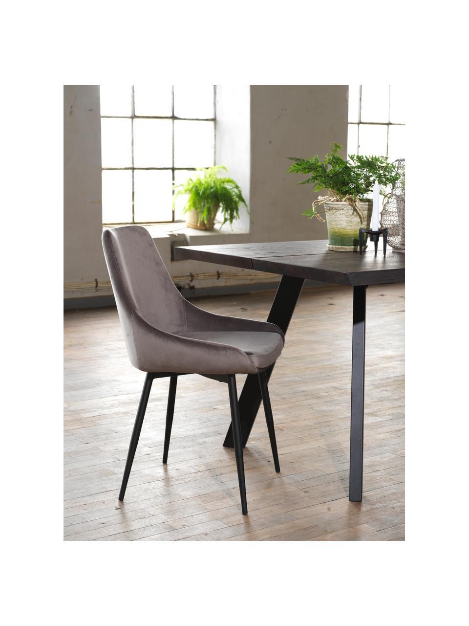 Fluwelen stoelen Sierra, 2 stuks, Bekleding: polyester fluweel, Poten: gelakt metaal, Fluweel grijs, poten zwart, B 49 x D 55 cm