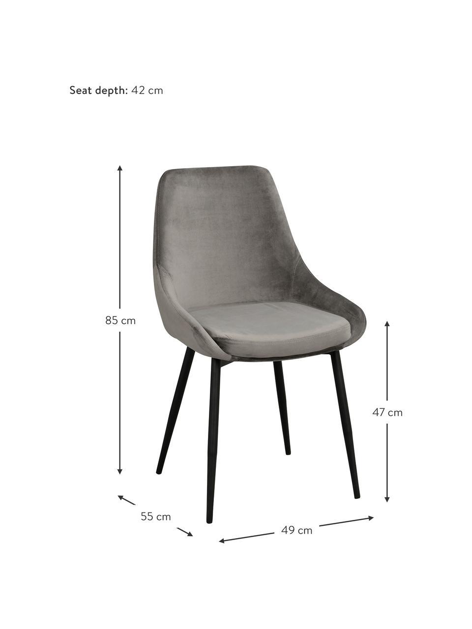Sedia imbottita in velluto Sierra 2 pz, Rivestimento: velluto di poliestere Con, Gambe: metallo verniciato, Velluto grigio, Larg. 49 x Prof. 55 cm