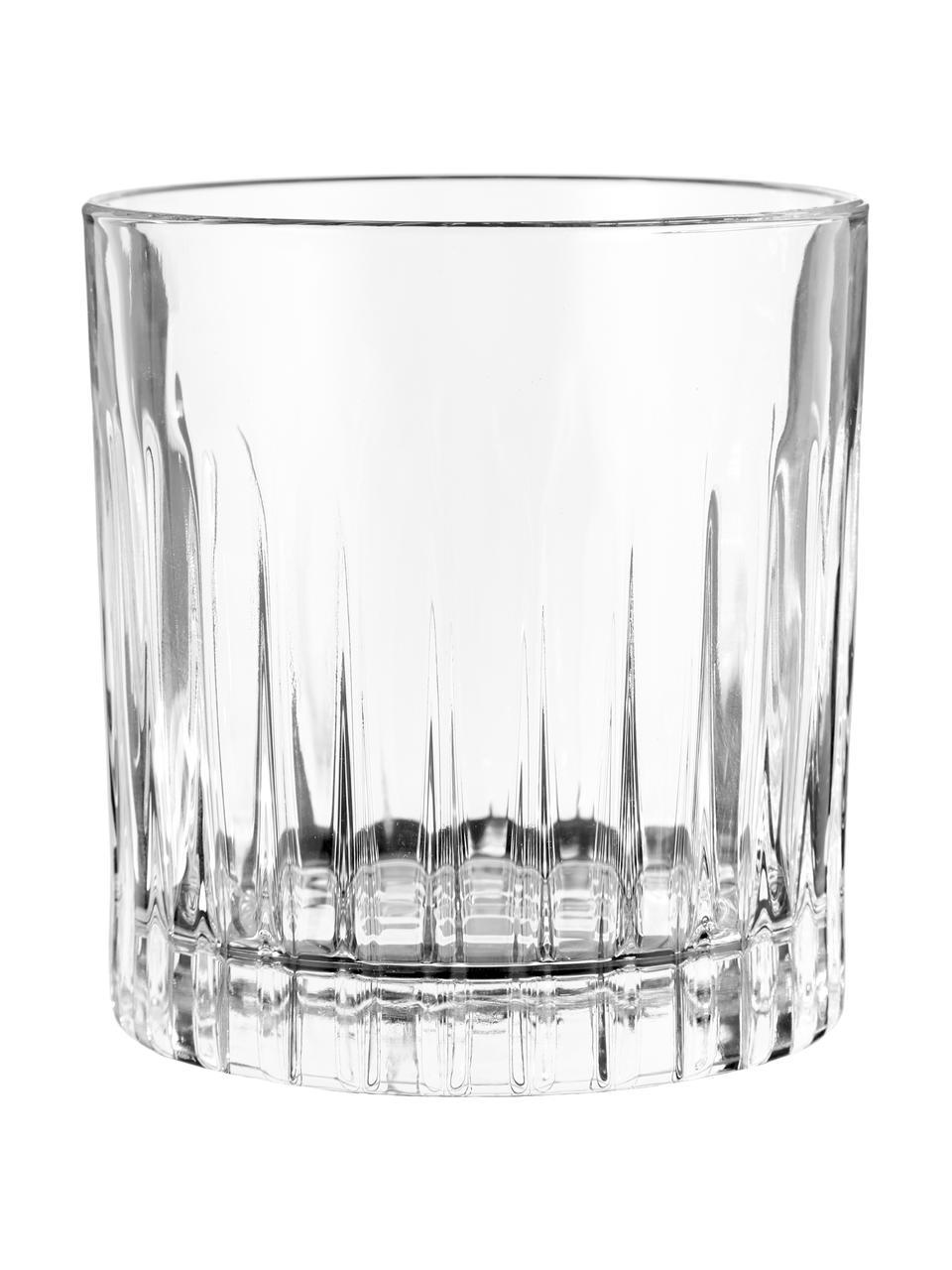 Glazen Timeless met groefreliëf, 6 stuks, Luxion kristalglas, Transparant, Ø 9 x H 9 cm