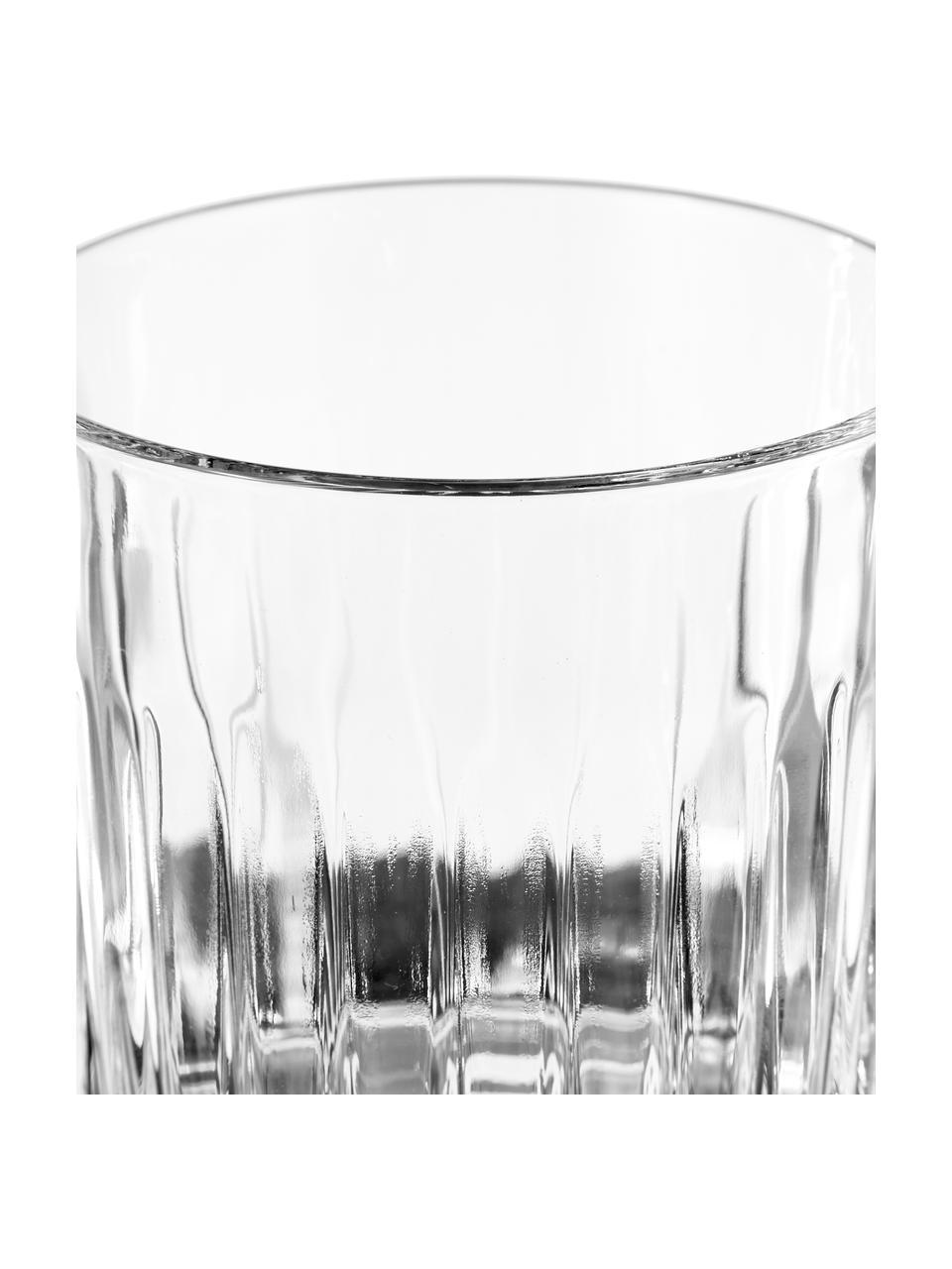 Kristallgläser Timeless mit Rillenrelief, 6 Stück, Luxion-Kristallglas, Transparent, Ø 9 x H 9 cm