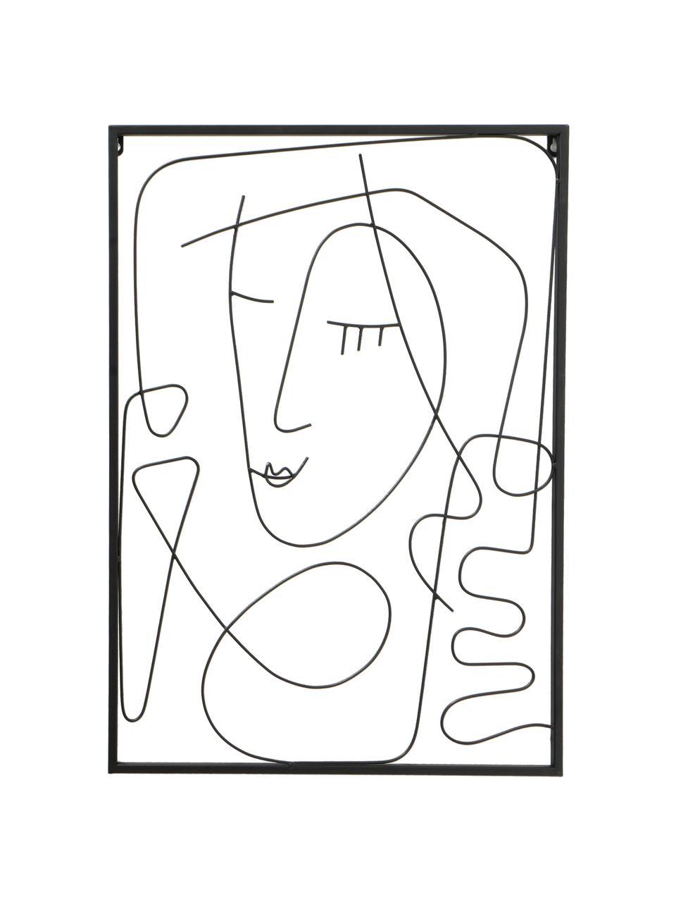 Wandobjekt-Set Pica, 2-tlg., Metall, lackiert, Schwarz, 49 x 69 cm
