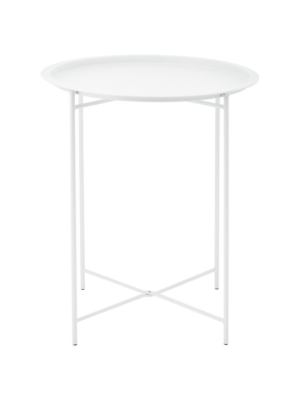 Stolik-taca z metalu Sangro, Stal lakierowana, Biały, Ø 46 x W 52 cm
