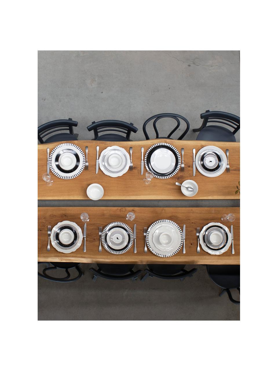 Frühstücksteller Pluto Loft mit Streifendekor und Goldrand, 4 Stück, Porzellan, Schwarz, Weiß, Goldfarben, Ø 21 x H 2 cm