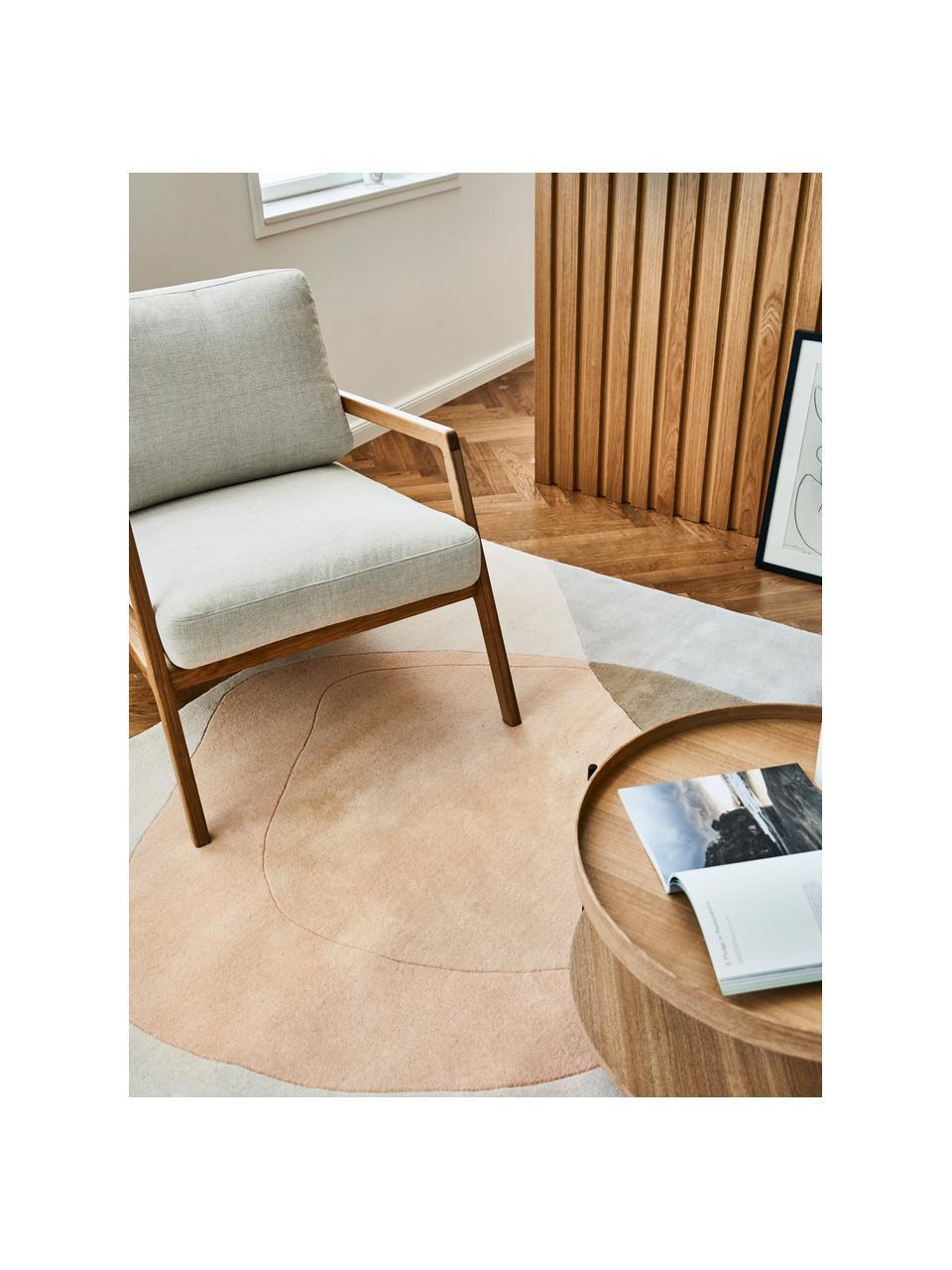 Fotel z drewna dębowego Becky, Tapicerka: poliester Dzięki tkaninie, Beżowy, drewno dębowe, S 73 x G 90 cm