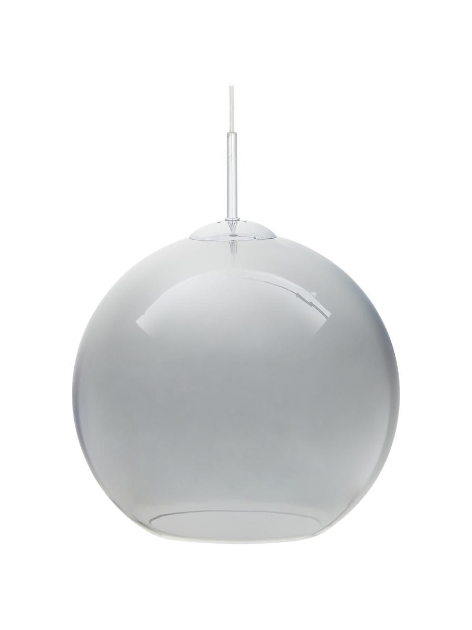 Pendelleuchte Silver aus verchromtem Glas, Baldachin: Metall, verchromt, Lampenschirm: Glas, Chrom, Grau, Ø 30 cm