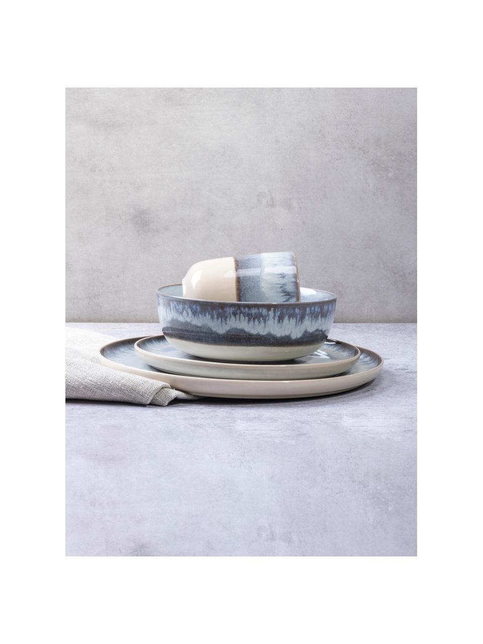 Talerz śniadaniowy Inspiration, 2 szt., Kamionka, Niebieski, jasny beżowy, Ø 21 cm