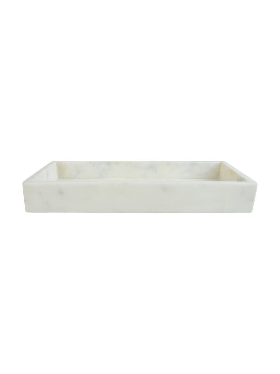 Vassoio decorativo in marmo Mera, Marmo, Bianco marmorizzato, Larg. 30 x Prof. 15 cm