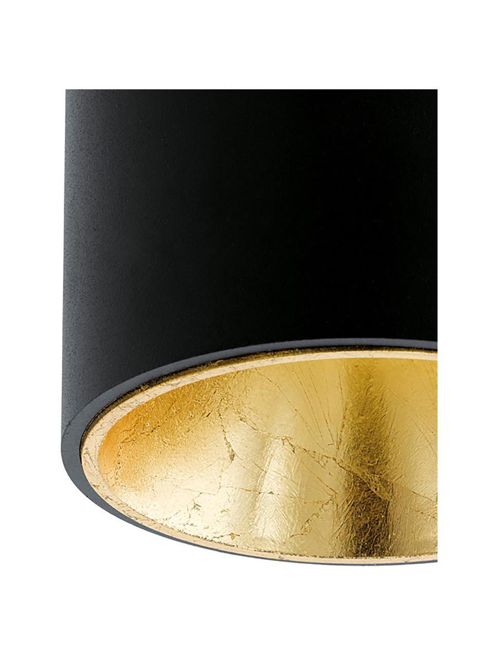 Spot plafond LED Marty, Noir, couleur dorée