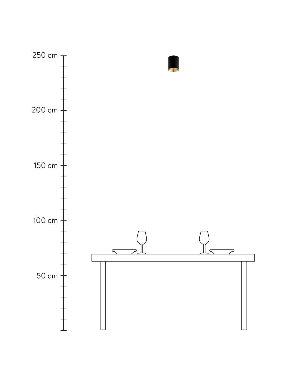 Lampa spot LED Marty, Czarny, odcienie złotego, Ø 10 x W 12 cm