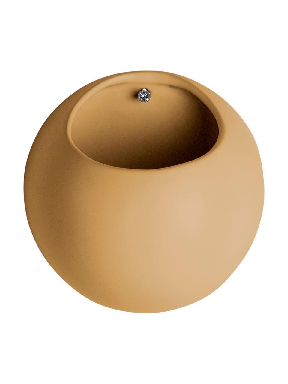 Ścienna osłonka na doniczkę z ceramiki Globe, Ceramika, Żółty, Ø 15 x W 10 cm