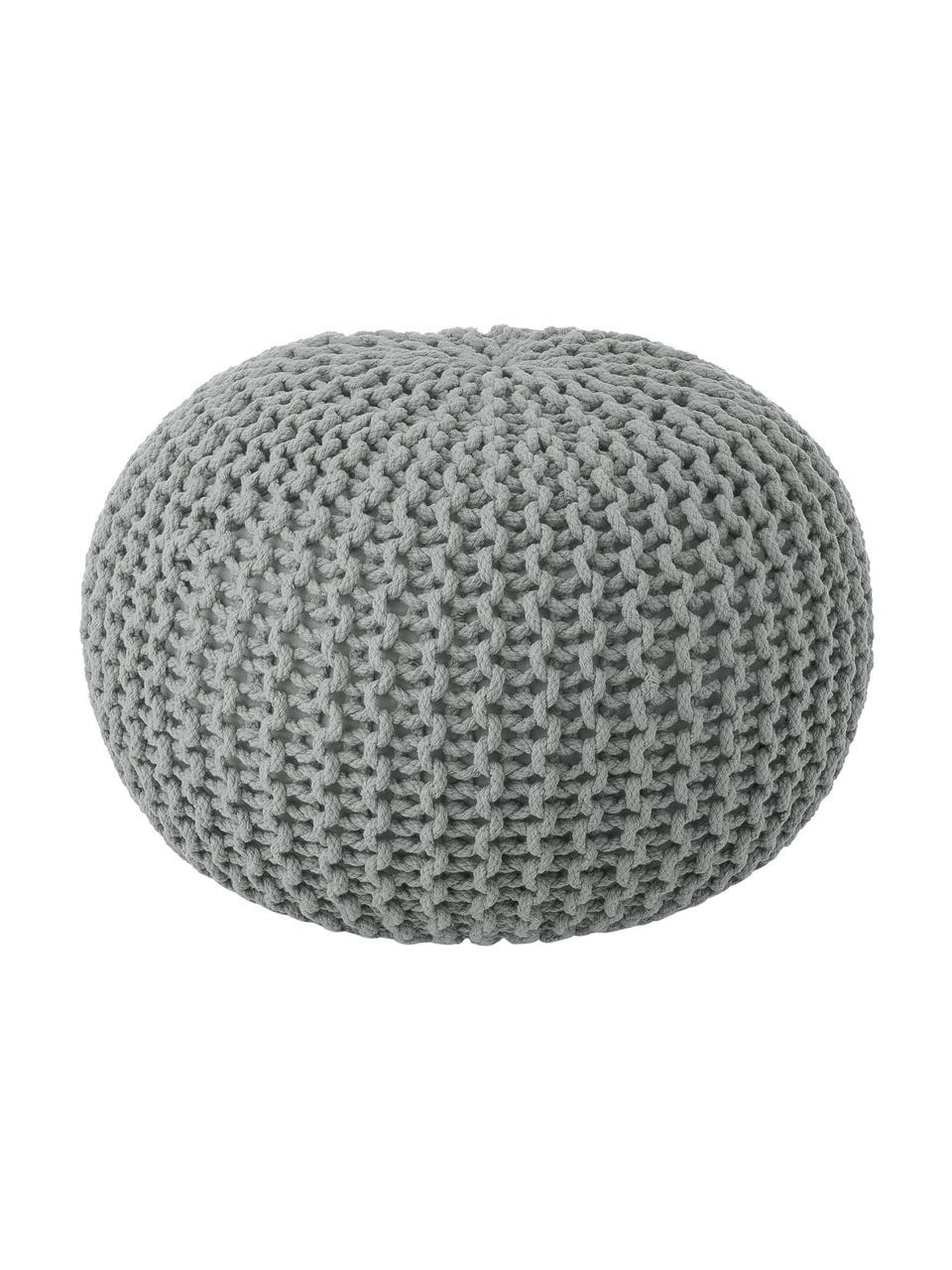 Handgefertigter Strickpouf Dori, Bezug: 100% Baumwolle, Hellgrau, Ø 55 x H 35 cm