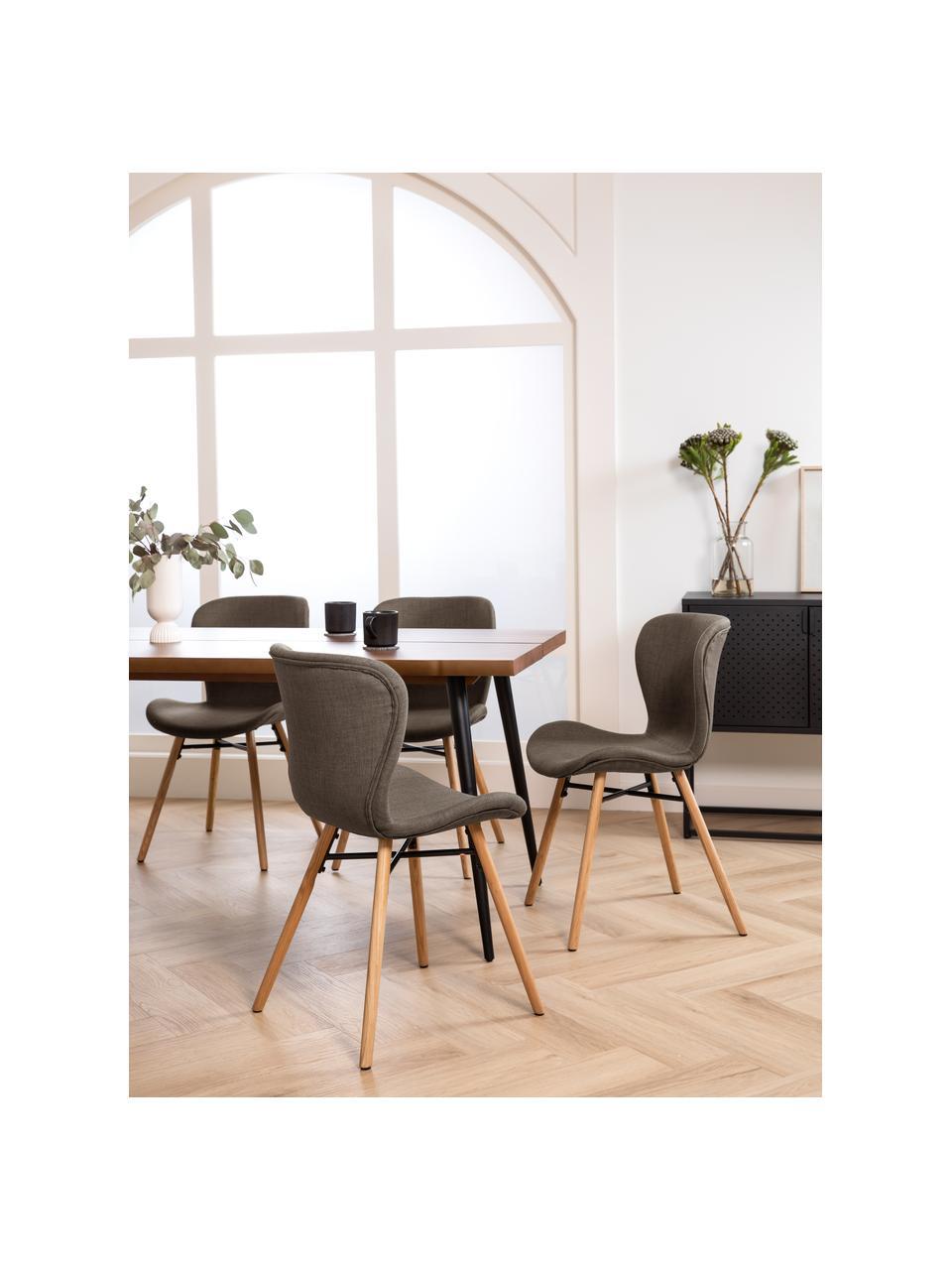 Gestoffeerde stoelen Batilda in kaki, 2 stuks, Bekleding: polyester, Poten: gelakt en geolied massief, Geweven stof kaki, eikenhout, B 47 x D 53 cm