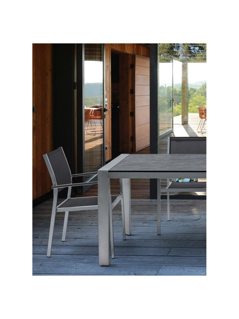 Garten-Esstisch Inez in Grau, Gestell: Aluminium, satiniert, Tischplatte: Zelluloselaminat, mit Har, Silber, Grau, 198 x 90 cm