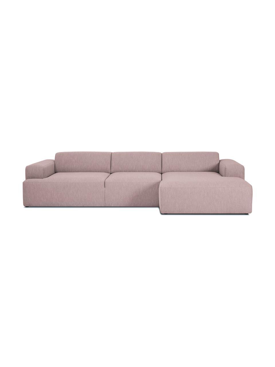 Sofa narożna Melva (4-osobowa), Tapicerka: poliester Dzięki tkaninie, Nogi: drewno sosnowe Nogi znajd, Blady różowy, S 319 x G 144 cm