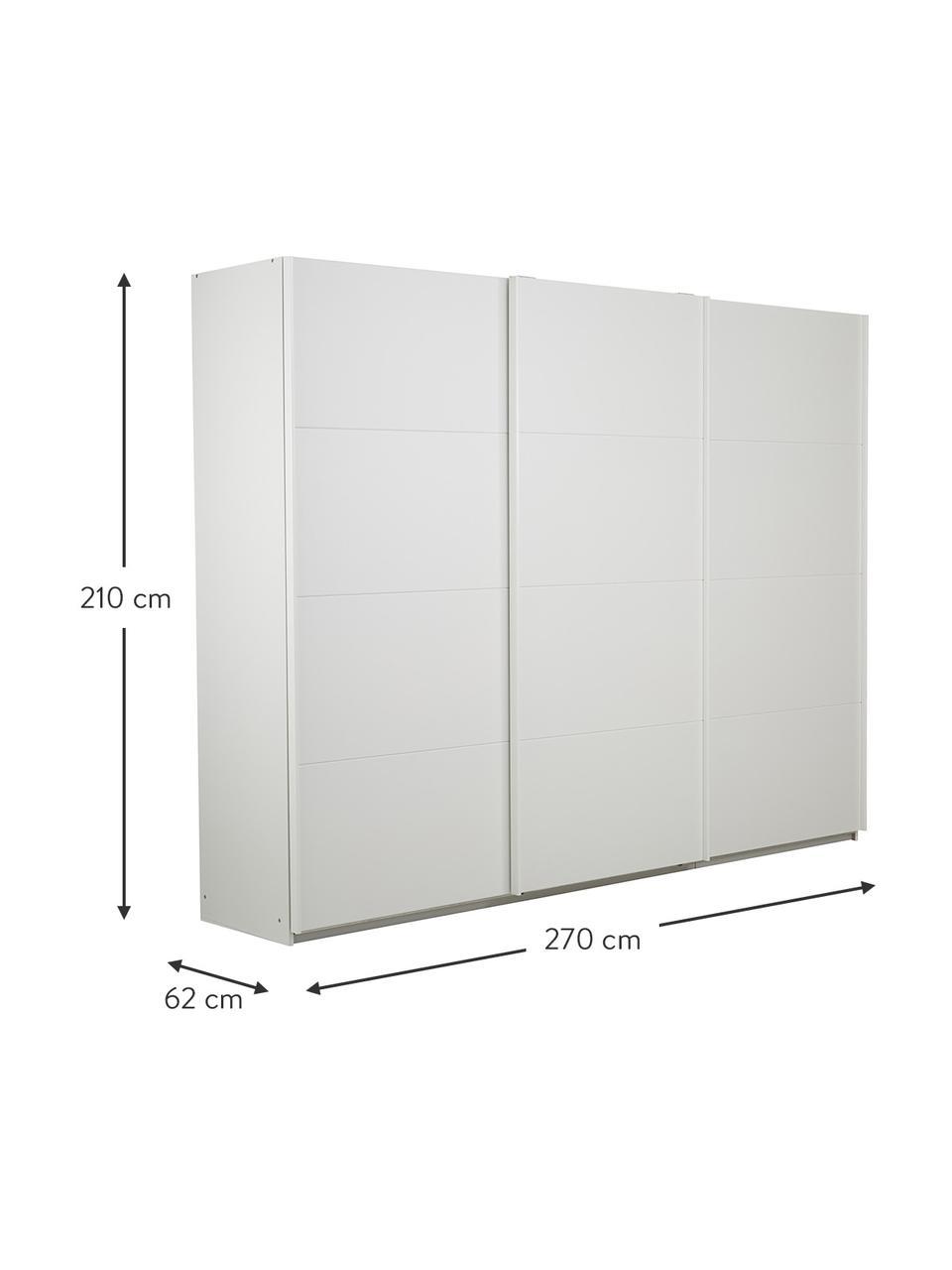 Kleiderschrank Mia mit 3 Schiebetüren in Weiß, Holzwerkstoff, beschichtet, Weiß, 270 x 210 cm