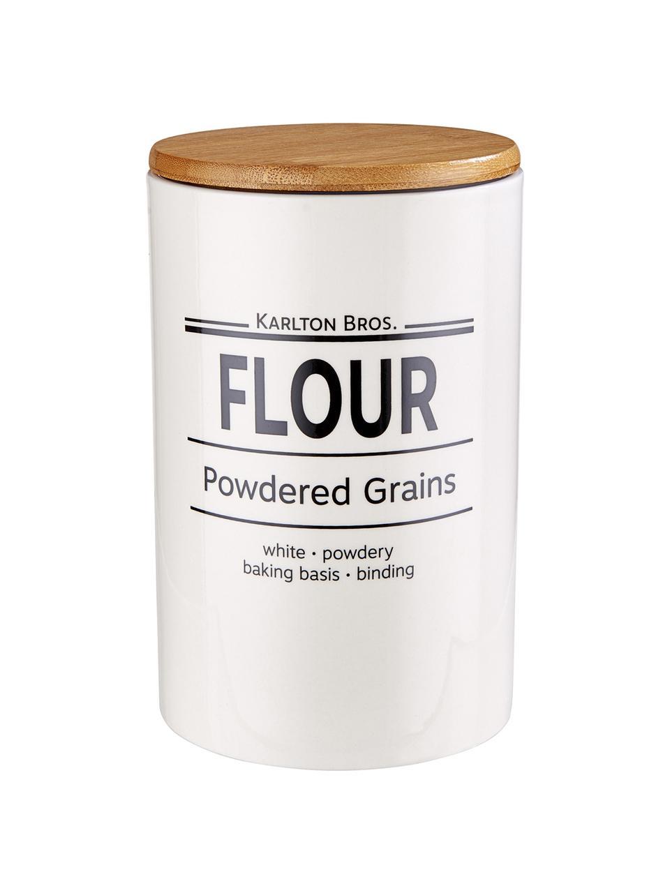 Aufbewahrungsdose Karlton Bros. Flour, Ø 11 x H 18 cm, Porzellan, Weiß, Schwarz, Braun, Ø 11 x H 18 cm