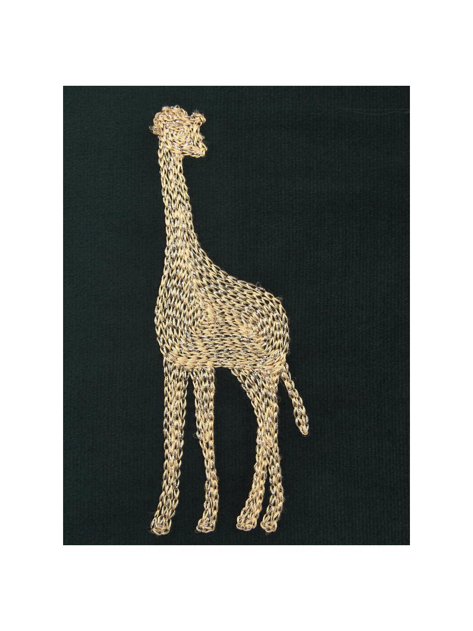 Haftowana poduszka z aksamitu  z wypełnieniem Giraffe, 100% aksamit (poliester), Zielony, odcienie złotego, S 45 x D 45 cm