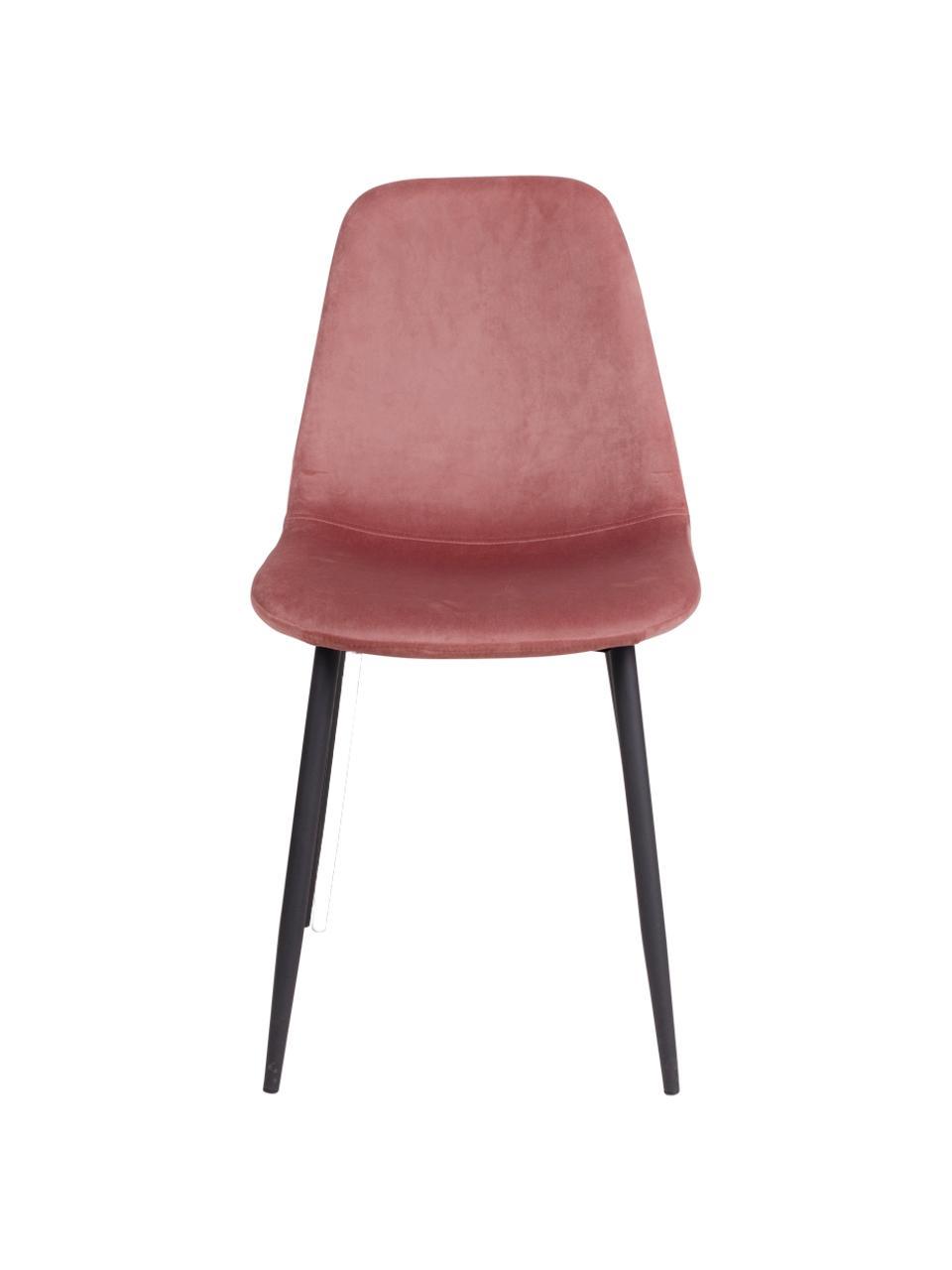 Sedia imbottita in velluto Stockholm, Rivestimento: velluto 25.000 cicli di s, Piedini: metallo verniciato, Rosa, Larg. 50 x Alt. 47 cm