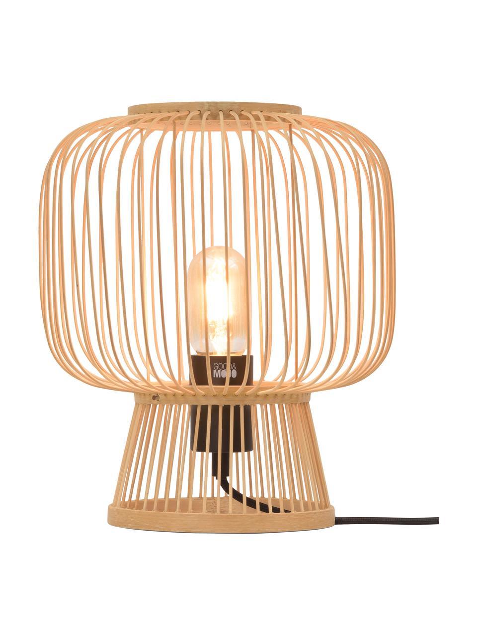 Kleine tafellamp Cango van bamboehout, Lampenkap: bamboe, Beige, zwart, Ø 30 x H 30 cm