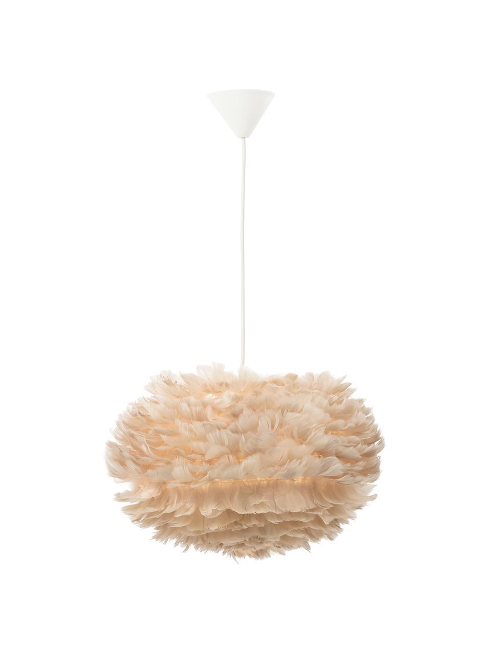 Hanglamp Eos van veren, Lampenkap: ganzenveren, Baldakijn: kunststof, Beige, wit, Ø 45  x H 30 cm