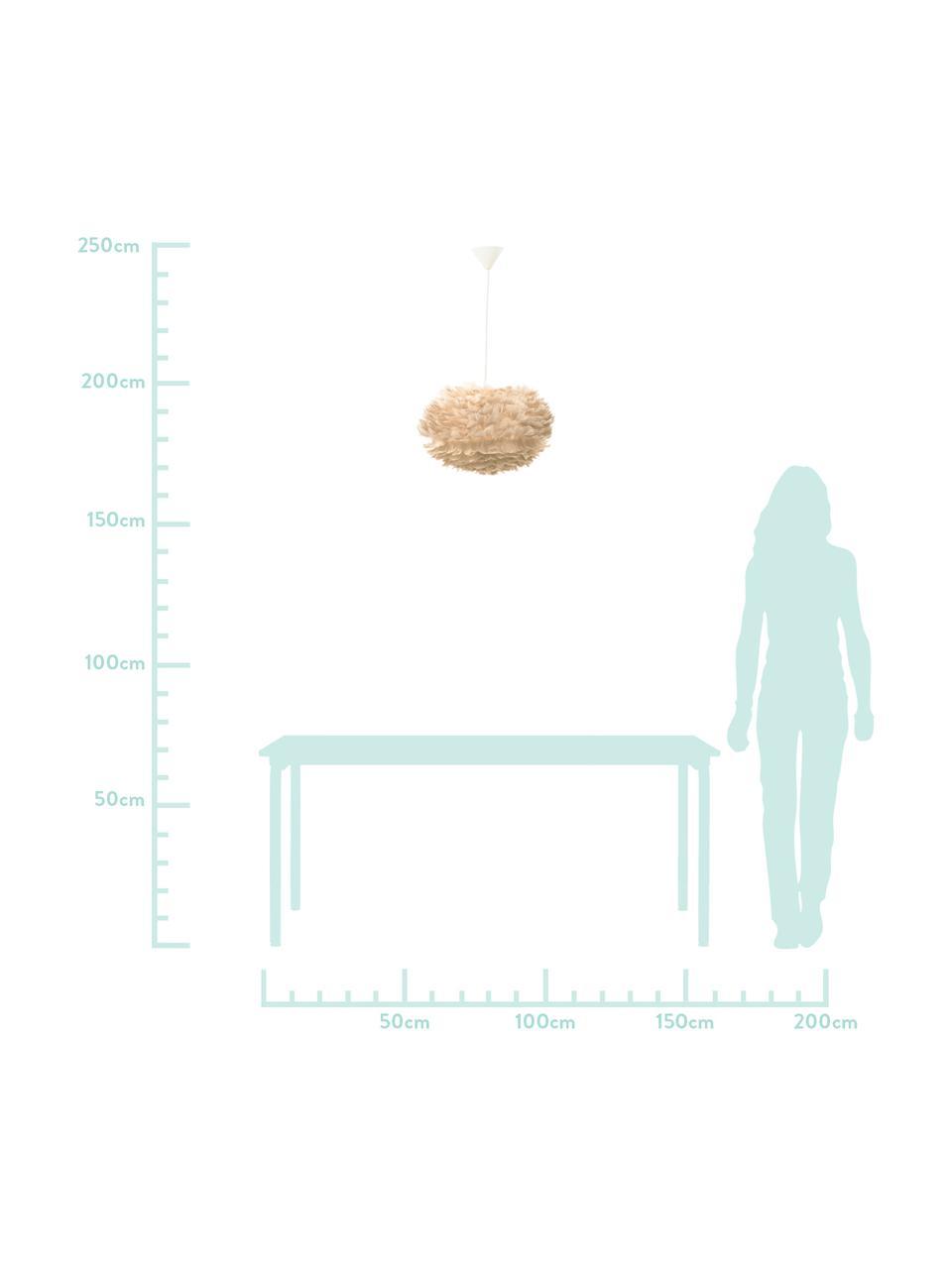 Lampada a sospensione in piume Eos, Paralume: piume d'oca, Baldacchino: materiale sintetico, Beige, bianco, Ø 45 cm x Alt. 30 cm