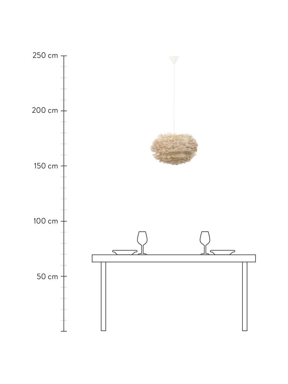 Pendelleuchte Eos aus Federn, Lampenschirm: Gänsefedern, Baldachin: Kunststoff, Beige, Weiß, Ø 45 x H 30 cm
