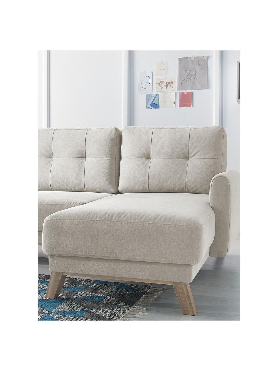 Sofa narożna z aksamitu z funkcją spania i miejscem do przechowywania Balio (4-osobowa), Tapicerka: 100% aksamit poliestrowy , Nogi: drewno naturalne, Aksamitny kremowy, S 234 x G 164 cm