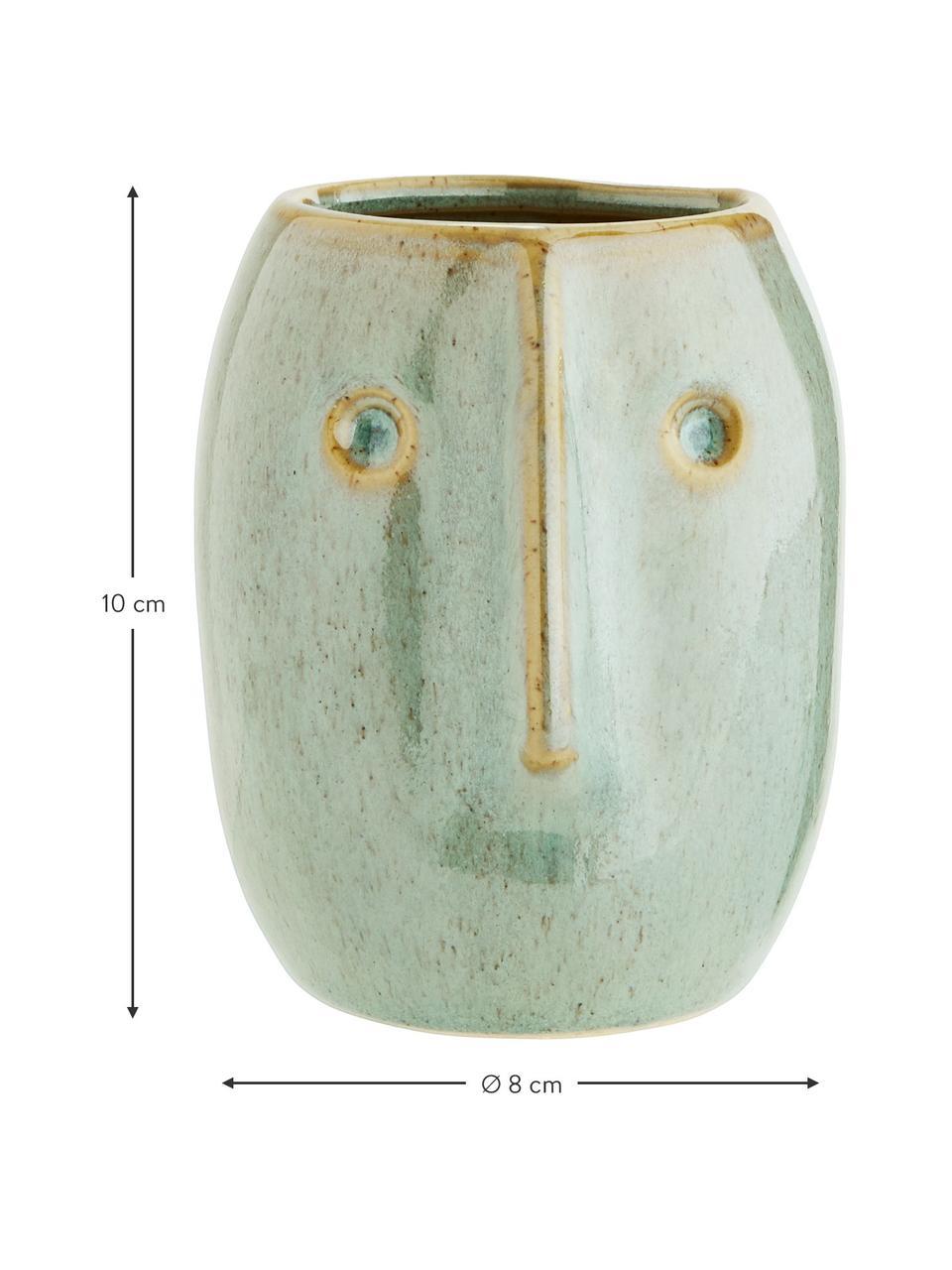 Osłonka na doniczkę XS z kamionki Face, Kamionka, Jasny zielony, beżowy, Ø 8 x W 10 cm