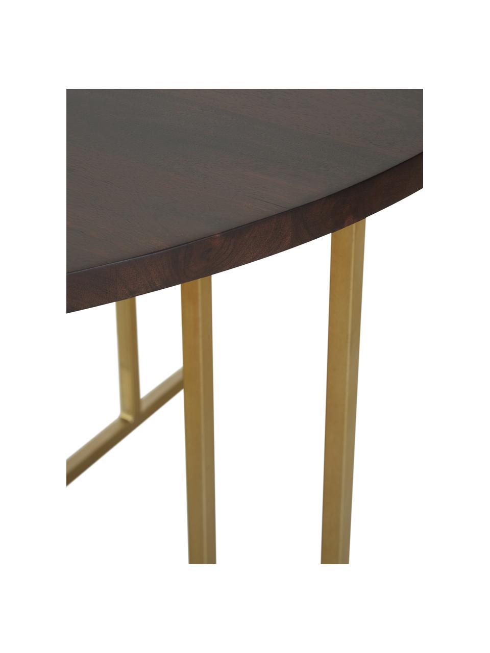 Okrągły stół do jadalni z blatem z drewna mangowego Luca, Blat: lite drewno mangowe, szcz, Stelaż: metal malowany proszkowo, Brązowy, odcienie złotego, Ø 120 x W 75 cm