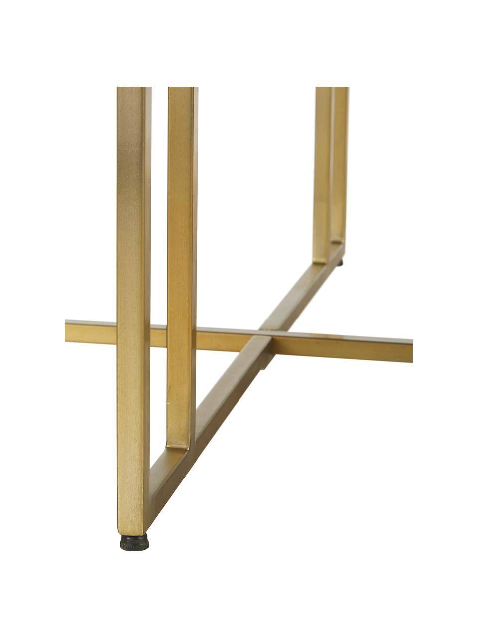 Table ronde bois massif Luca, Plateau: bois de manguier, foncé laqué Structure: couleur dorée
