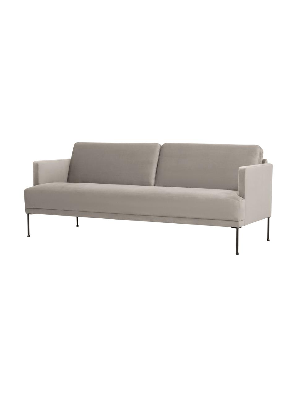 Samt-Sofa Fluente (3-Sitzer) in Beige mit Metall-Füßen, Bezug: Samt (Hochwertiger Polyes, Gestell: Massives Kiefernholz, Füße: Metall, pulverbeschichtet, Samt Beige, B 196 x T 85 cm