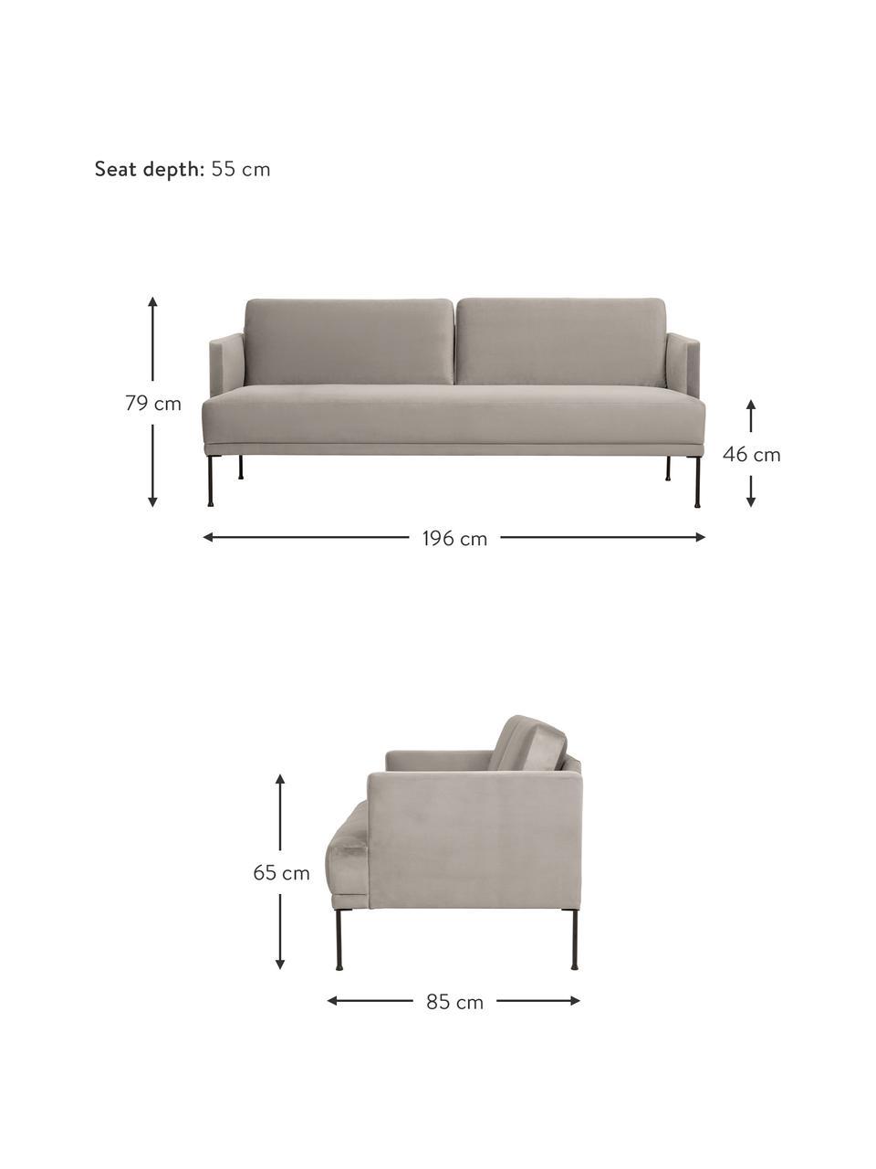 Sofa z aksamitu  z metalowymi nogami Fluente (3-osobowa), Tapicerka: aksamit (wysokiej jakości, Nogi: metal malowany proszkowo, Aksamitny beżowy, S 196 x G 85 cm