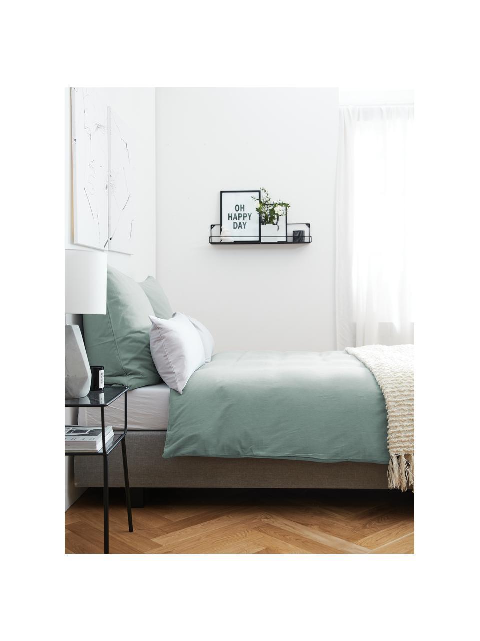 Pościel z flaneli Biba, Zielony miętowy, 135 x 200 cm + 1 poduszka 80 x 80 cm
