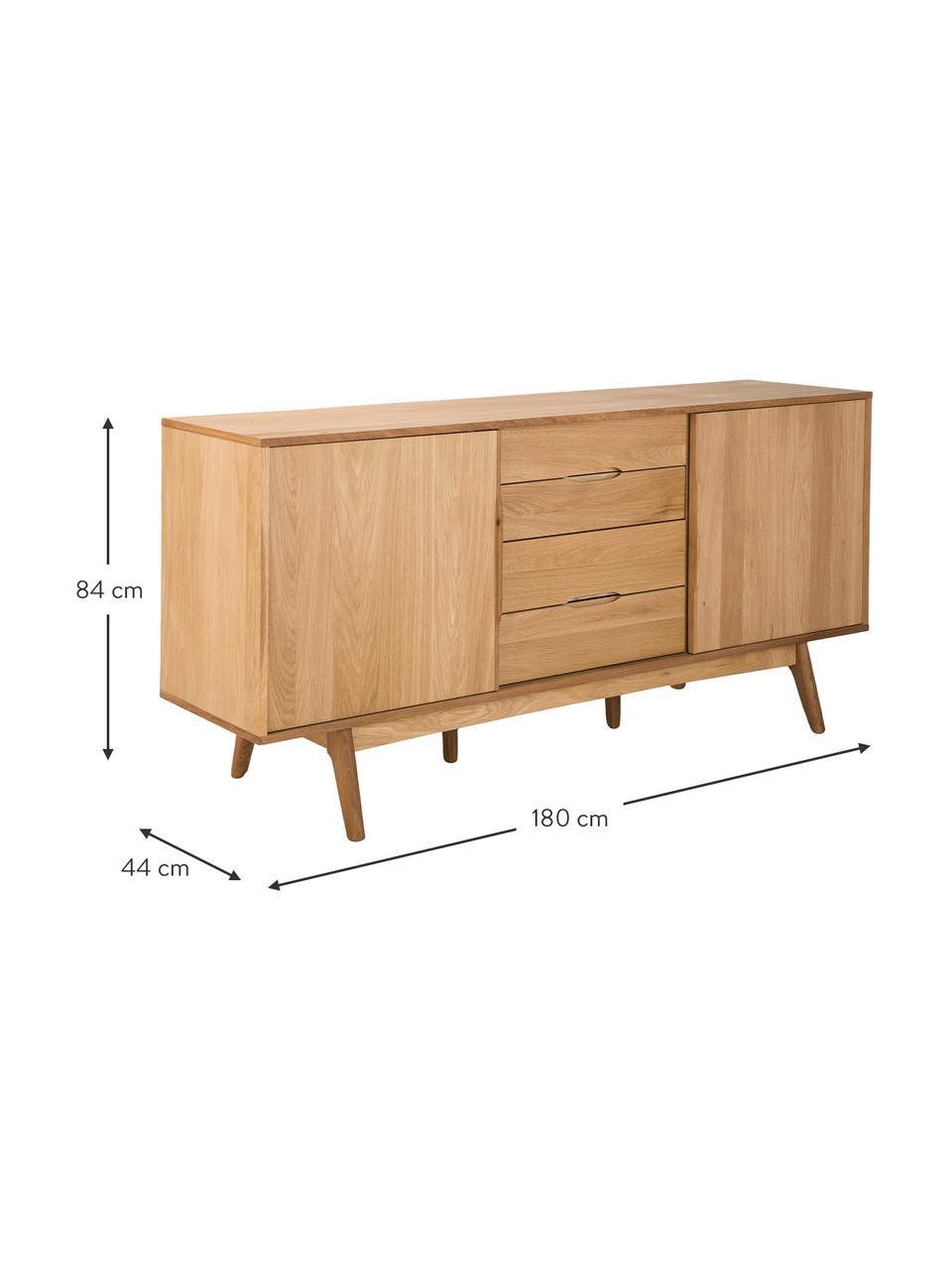 Sideboard Bettina mit Schubladen und Eichenholzfurnier, Korpus: Mitteldichte Holzfaserpla, Füße: Eiche massiv, geölt, Braun, 180 x 84 cm