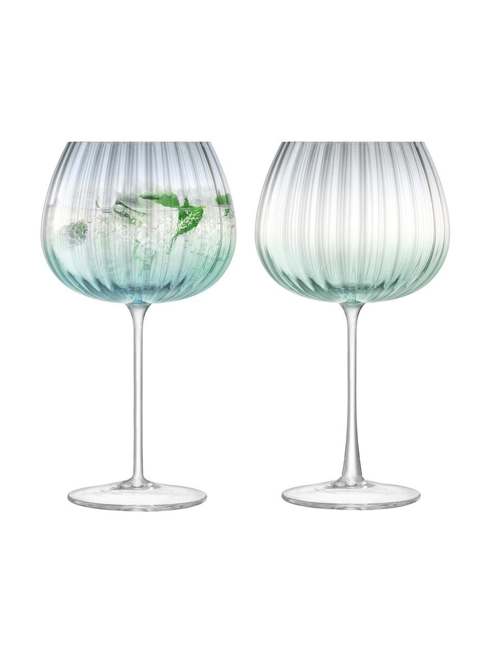 Handgemachte Weingläser Dusk mit Farbverlauf, 2 Stück, Glas, Grün, Grau, Ø 10 x H 20 cm