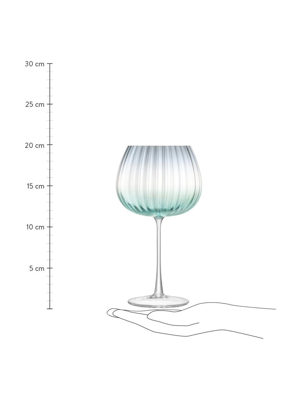 Handgemaakte wijnglazen Dusk met kleurverloop, 2-delig, Glas, Groen, grijs, Ø 10 x H 20 cm