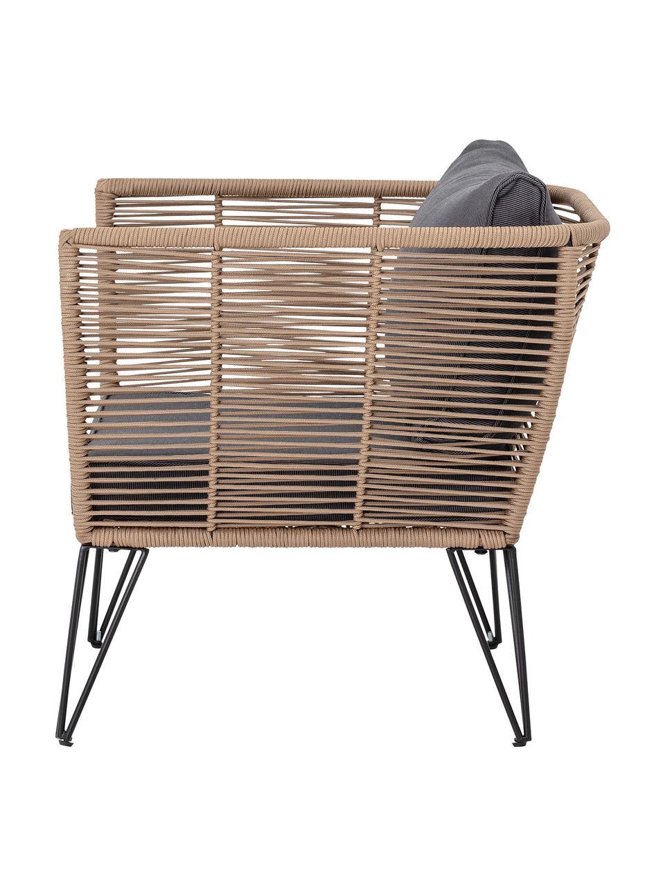 Garten-Loungesessel Mundo mit Kunststoff-Geflecht, Gestell: Metall, pulverbeschichtet, Sitzfläche: Polyethylen, Bezug: Polyester, Braun, B 87 x T 74 cm