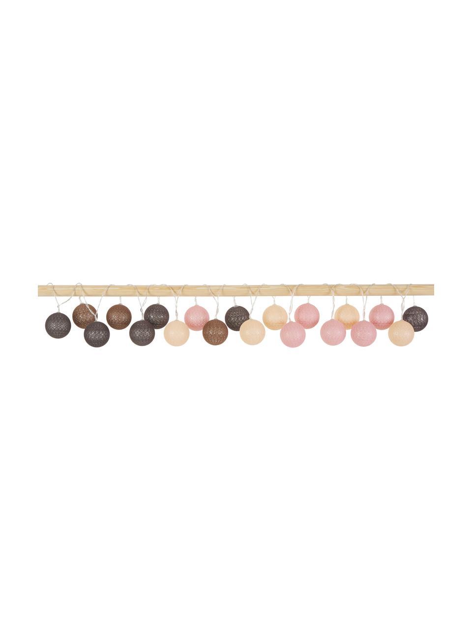 LED-Lichterkette Bellin, 320 cm, 20 Lampions, Lampions: Baumwolle, Braun, Beige, Schwarz, Rosa, L 320 cm
