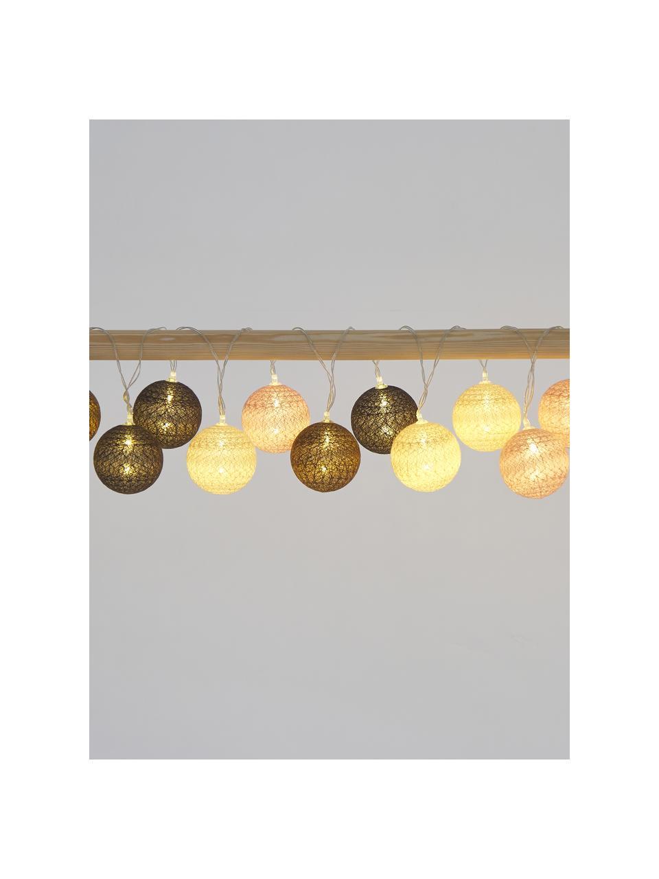 Ghirlanda  a LED Bellin, 320 cm, 20 lampioni, Lanterne: cotone, Marrone, beige, nero, rosa, Lung. 320 cm