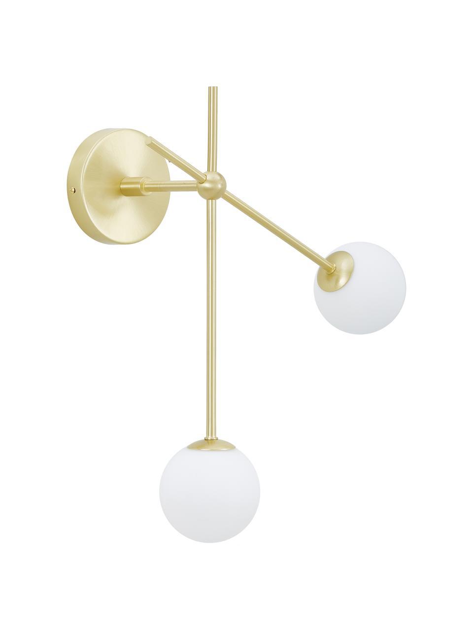 Applique Moon, Paralume: vetro, Baldacchino e rilegatura: ottone spazzolat paralume: bianco cavo: nero, Larg. 39 x Prof. 20 cm