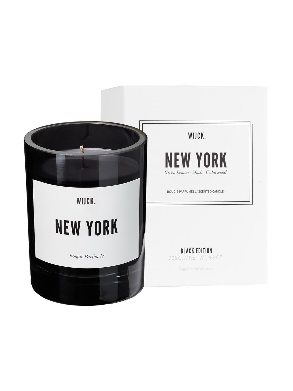Bougie parfumée New York (citron vert, rose & bois), Noir