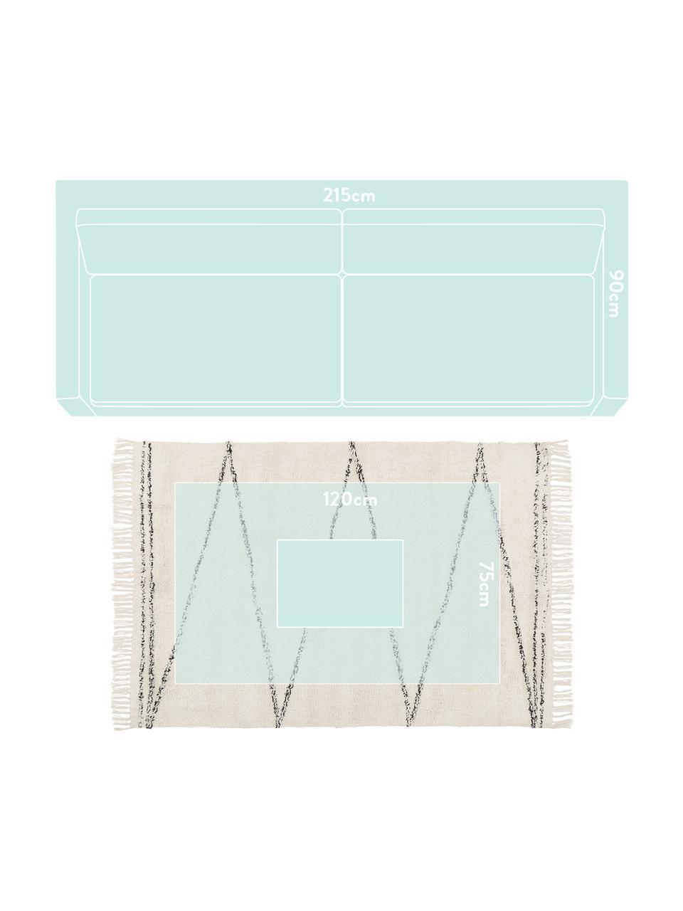 Ręcznie tuftowany dywan z bawełny z frędzlami Asisa, 100% bawełna, Beżowy, czarny, S 200 x D 300 cm (Rozmiar L)