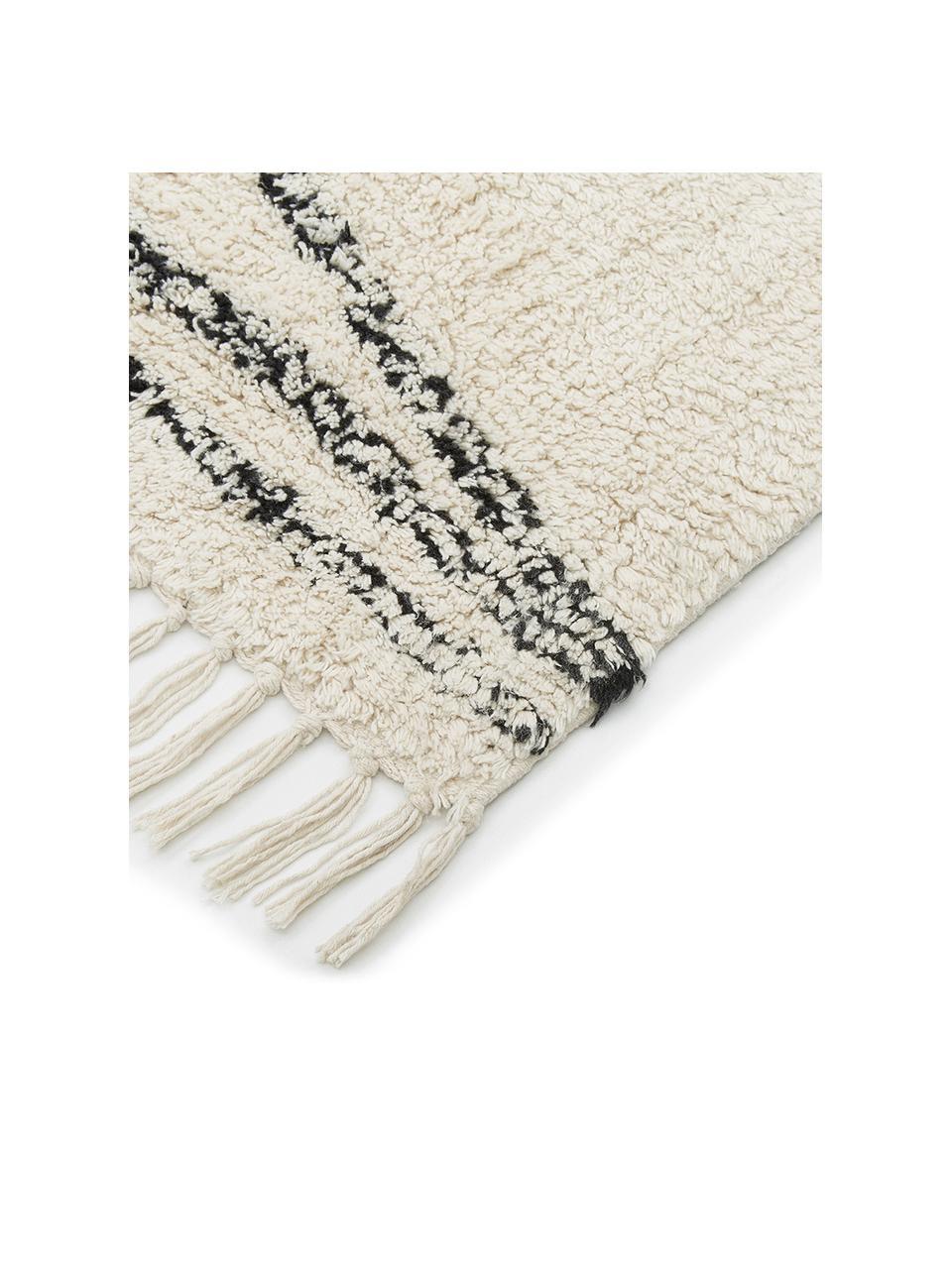 Handgetufteter Baumwollteppich Asisa mit Zickzack-Muster und Fransen, 100% Baumwolle, Beige, Schwarz, B 200 x L 300 cm (Größe L)