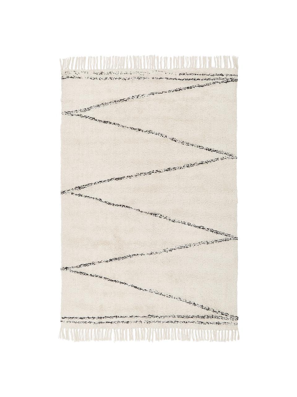 Tappeto in cotone taftato a mano con motivo a zigzag Asisa, 100% cotone, Beige, nero, Larg. 200 x Lung. 300 cm (taglia L)