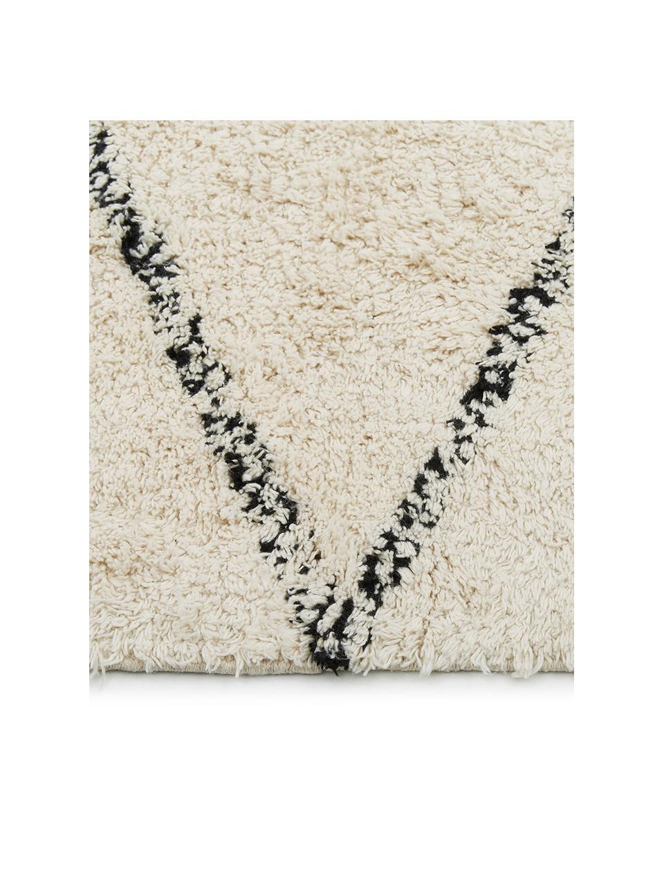 Handgetuft katoenen vloerkleed Asisa met zigzaggend patroon en franjes, 100% katoen, Beige, zwart, B 200 x L 300 cm (maat L)