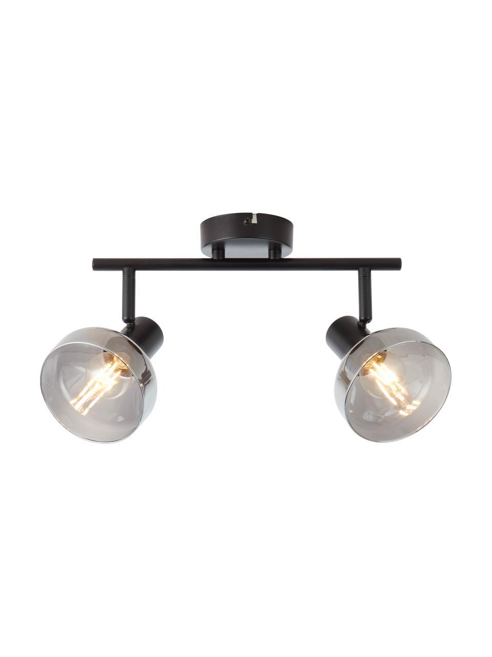 Lampa sufitowa ze szkła Reflekt, Czarny, szary, transparentny, S 43 x W 20 cm