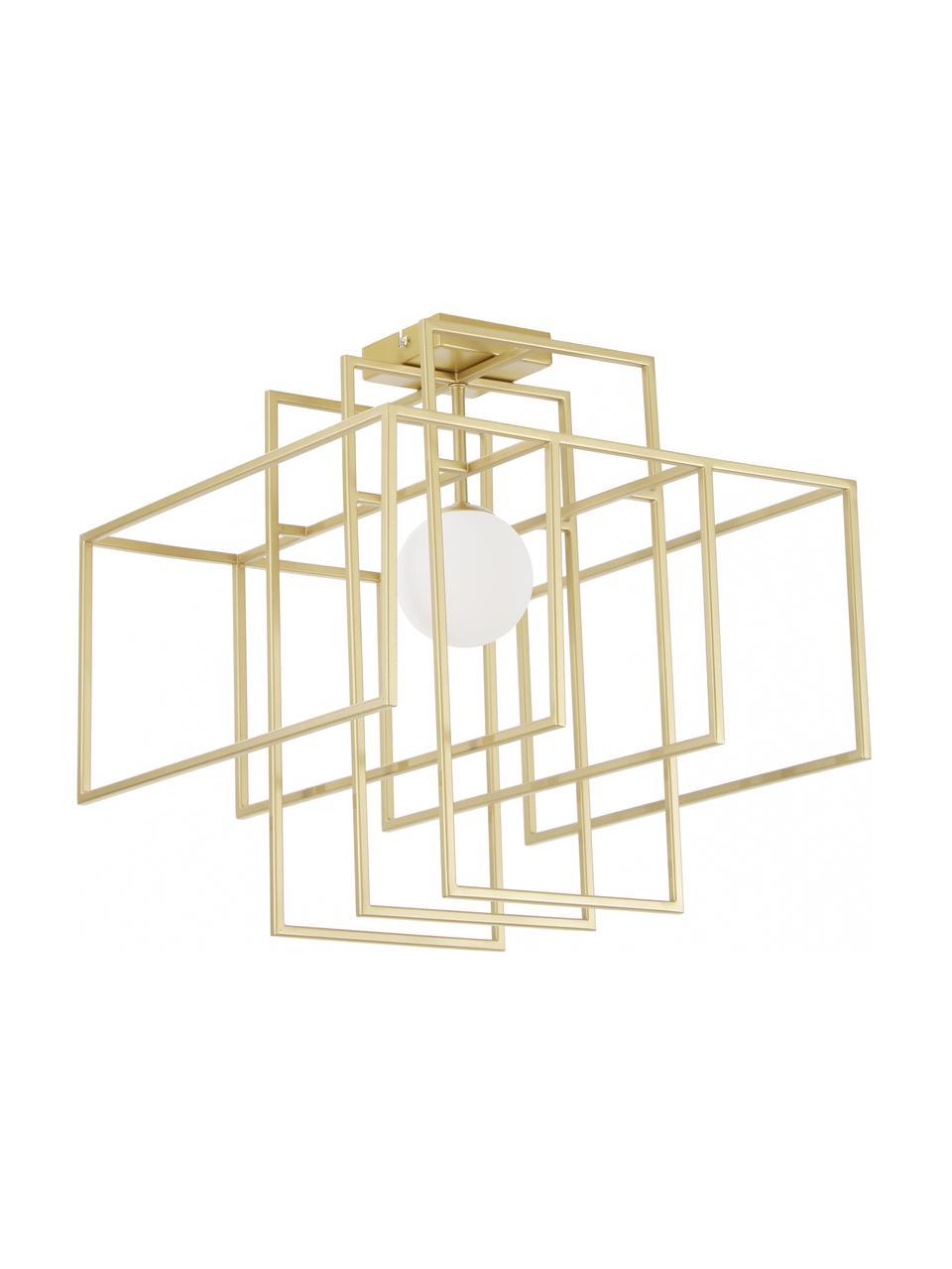 Design Deckenleuchte Rubic mit Glasschirm, Lampenschirm: Glas, Baldachin: Metall, pulverbeschichtet, Gold, 40 x 43 cm