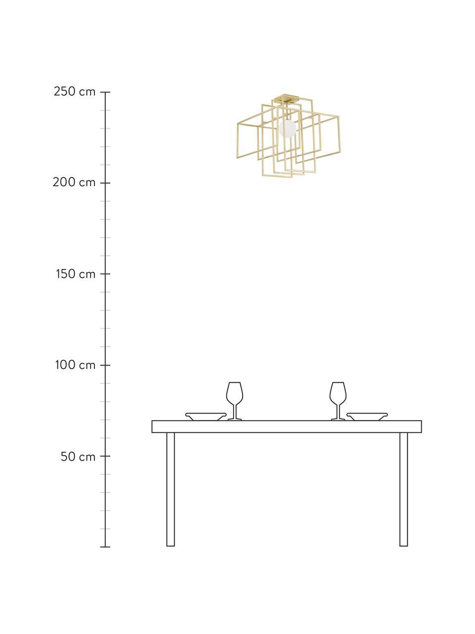 Lampada da soffito di design con paralume in vetro Rubic, Struttura: metallo verniciato a polv, Paralume: vetro, Baldacchino: metallo verniciato a polv, Oro, Larg. 40 x Alt. 43 cm