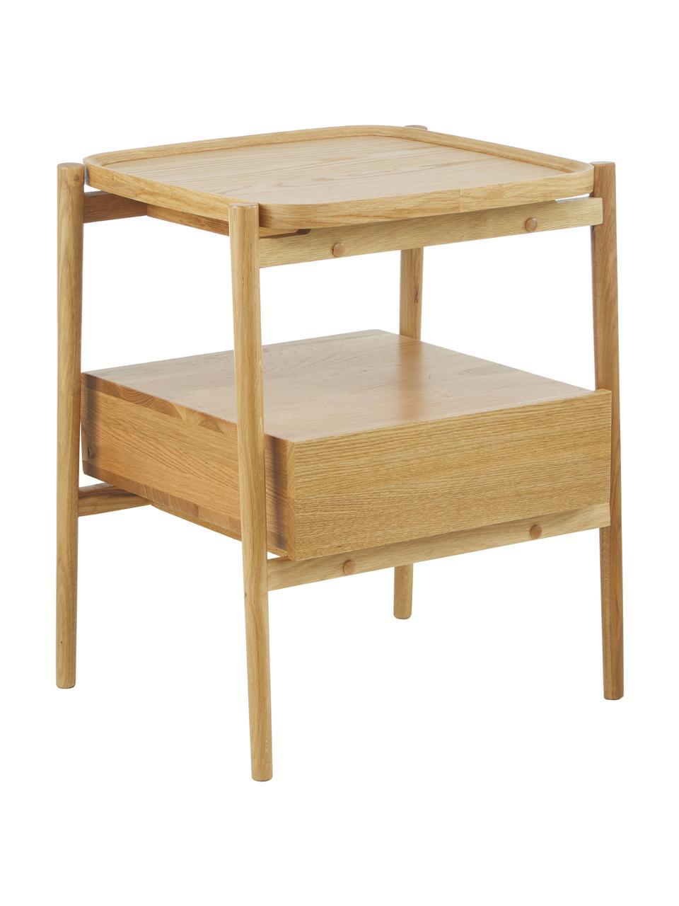 Nachttisch Libby mit Schublade aus Eichenholz, Ablagefläche: Mitteldichte Holzfaserpla, Eichenholz, 49 x 60 cm