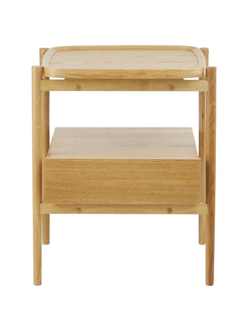 Nachttisch Libby aus Eichenholz, Ablagefläche: Eichenholzfurnier mit mit, Hellbraun, 49 x 60 cm